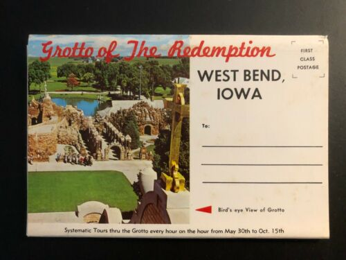 """Old Vintage""""Grotto Of The Redemption-West Bend-IOWA"""" Fold Out Views. Made in USA"""