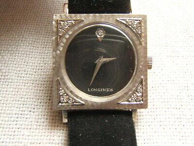LONGINES 14K WHITE GOLD WRIST WATCH BLACK DIAL WITH DIAMONDS EX COND