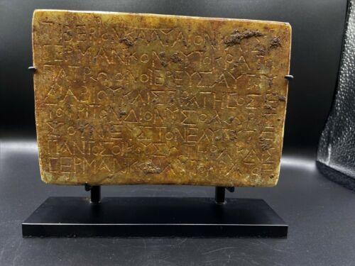 Old Antique Greeks Marble Stone engraved  Inscription writing Fragment slab