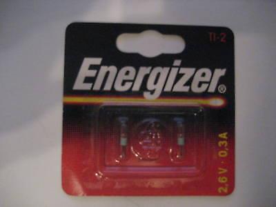 2 x NEUE originalverpackte Ersatzlampen von Energizer Typ : TI-2 - 2,6 V - 0,3 A