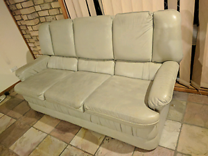 Free retro leather couch + recliner Cranebrook Penrith Area Preview