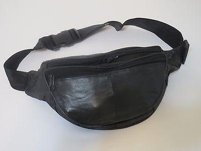 Black Genuine Leather Fanny Pack Waist Bag Hip Belt Pouch Travel Purse Men Women