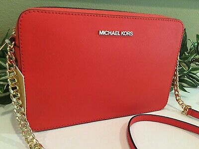 MICHAEL KORS JET SET LARGE EW CROSSBODY MESSENGER BAG MANDARIN ORANGE LEATHER