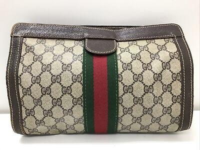 Authentic vintage Gucci GG sherry monogram PVC brown leather clutch purse bag