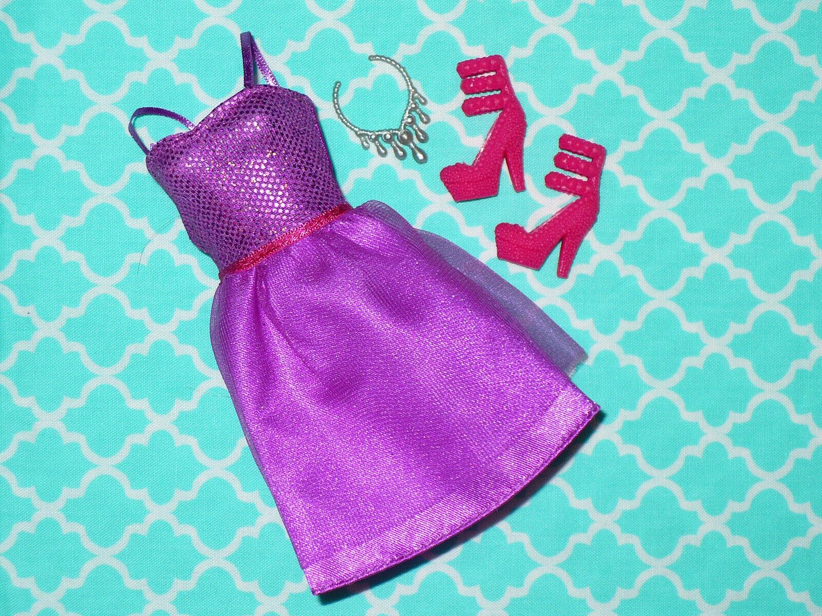 Mattel Barbie Doll Clothing Lot FASHIONISTAS PURPLE PARTY DRESS SHOES Necklace - $17.59