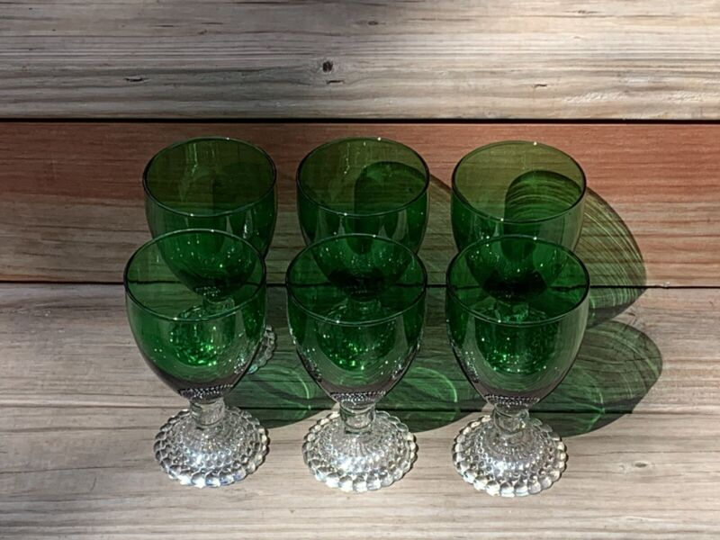 SET OF SIX VINTAGE ANCHOR HOCKING FOSTORIA BUBBLE FOOT EMERALD WATER GOBLETS