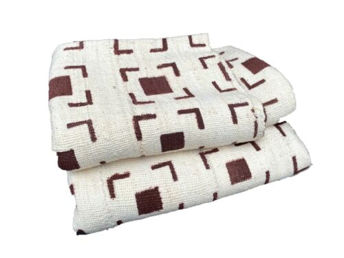 "African Bogolan Textile Mud Cloth  White  & Brown  41"" by 62"""