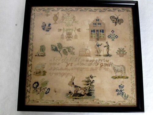 Antique English Hand Stitched Pictorial Needlework Sampler 19th c.