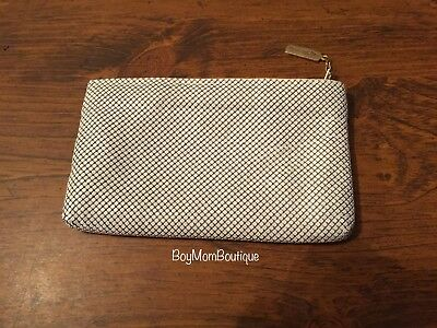 Vintage Whiting & Davis Off White Metal Mesh Enameled Elegant Clutch Purse GUC