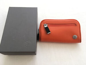 Authentic BMW Leather Small Orange Pouch / Key Case NEW IN BOX