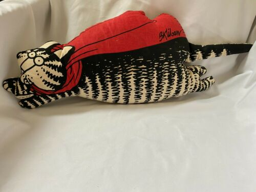 "VERY RARE Vintage B. Kliban Stuffed Cat, Red Scarf Flying 21"" Plush Pillow"