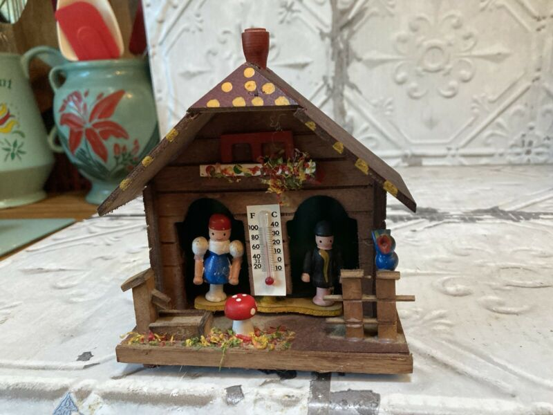 Vintage German thermometer wooden chalet weather house