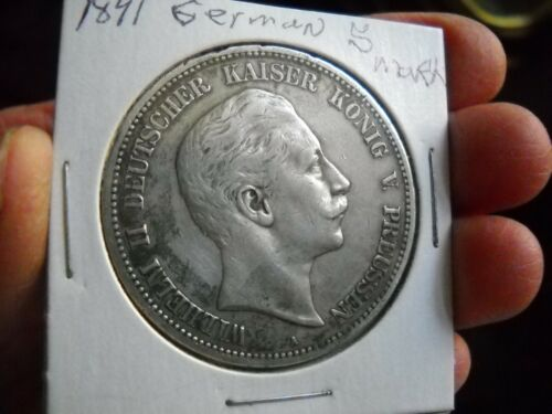 1891 A  German WILHELM KAISER II KONIG  5 Mark Coin