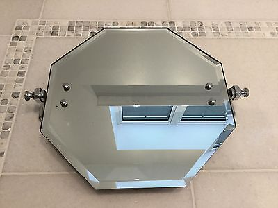 Vintage Art Deco Bathroom Wall Tilting Chrome Bevelled Edge Mirror Retro