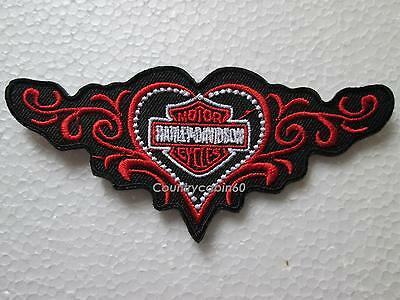"HARLEY DAVIDSON LADIES STUDDED HEART BAR & SHIELD VEST PATCH 4"" x 2""-"