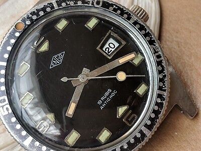 Vintage ENGO Divers Watch w/Glossy Black Dial,Patina,All SS Case,Lorsa P75 Mvmt ()