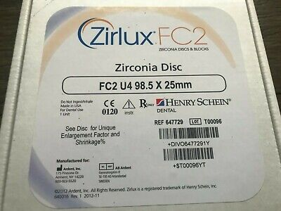 Zirlux Zirconia Disc Henry Schein New -size 98.5x25mm - Shade U4