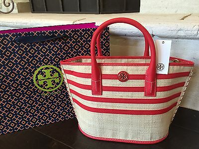 TORY BURCH STRIPE STRAW MINI TOTE NATURAL/MASAAI RED NWT $250  & GIFT BAG MINT!