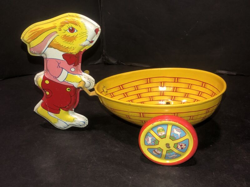Vintage J. Chein Litho Tin Toy Rabbit Bunny Pushing Egg Cart Easter Collectible