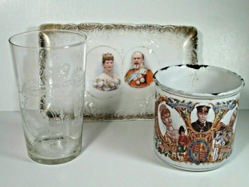 3 1911 Coronation Souvenirs -Queen Alexandra and King George V  Tray,Cup & Glass