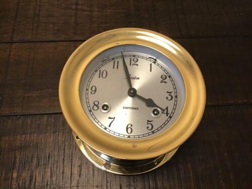 CHELSEA BOSTON SHIPSTRIKE 4 1/2 INCH CLOCK  LOOKS GREAT W/KEY NICE