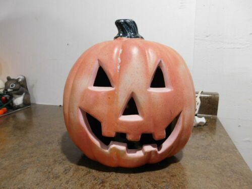 "VTG 10"" Halloween JOL Jack-O-Lantern Foam Blow Mold Lighted Pumpkin Yard Decor"
