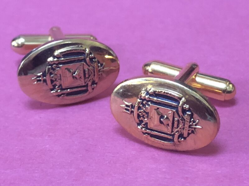 Vintage US NAVAL ACADEMY Seal Cufflinks NEW OLD STOCK - Coat of Arms