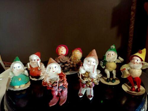 Lot 1950s Putz 7 Christmas Pinecone Chenille Christmas Elves Gnome Felt  JAPAN
