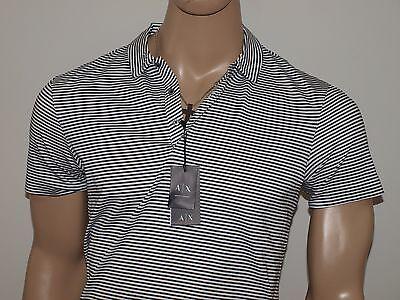 Armani Exchange Authentic Nautical Stripe Jersey Polo Shirt White NWT
