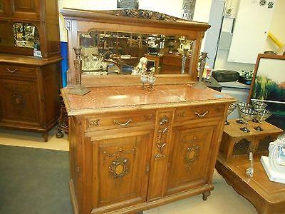 Antique American Oak Furniture - Antique American Quartersawn Tiger? Oak Marble top Sideboard with Mirror