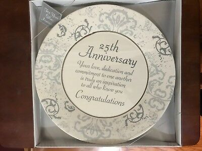 25th Anniversary Plate Quote Love Dedication Commitment Congratulation Gift Box