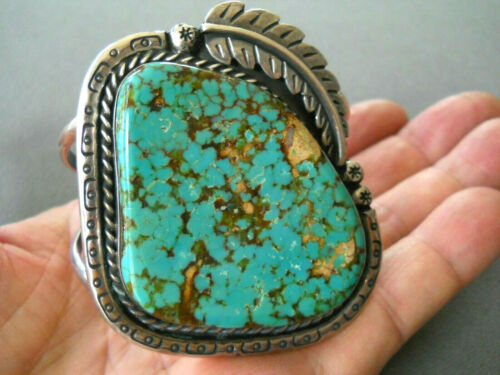 Southwestern Native American Spiderweb Turquoise Sterling Silver Cuff Bracelet