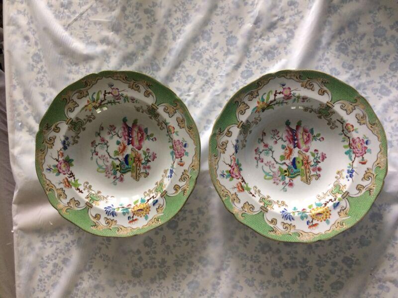"""Antique Minton Rimmed Soup Bowls- Pair 1870's  10"""""""