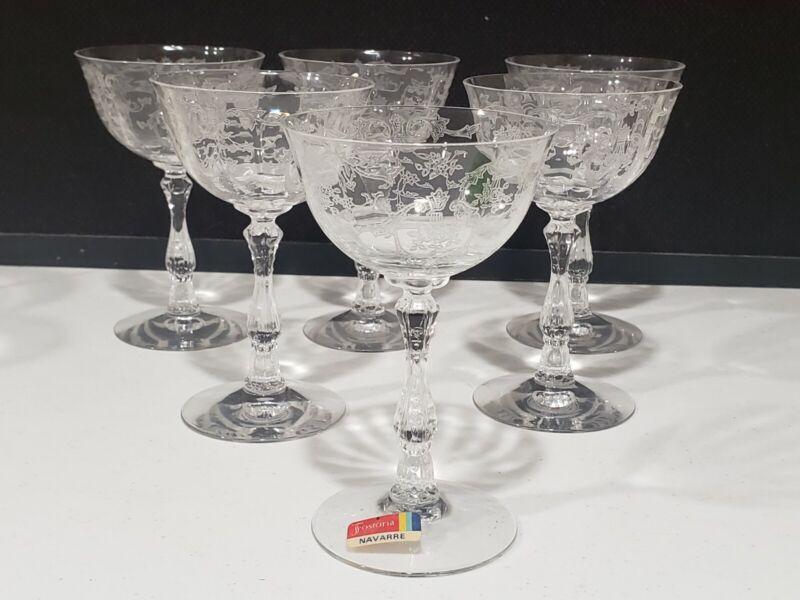 "Set of 6 Vintage 6 oz Fostoria Navarre 5 5/8"" Champagne Sherbet Glasses"
