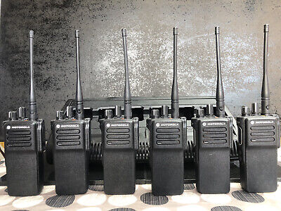 6 x Motorola DP4400 (UHF) 2/way Digital Radios & 6 Bay IMPRES Multi-Charger