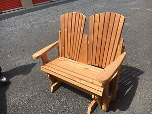 Custom built Cedar smooth glide rocking love seat