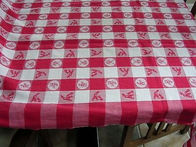#F Vintage Retro Dutch Motif Red & White Checkered Picnic Tablecloth Windmill](Red And White Checkered Tablecloths)