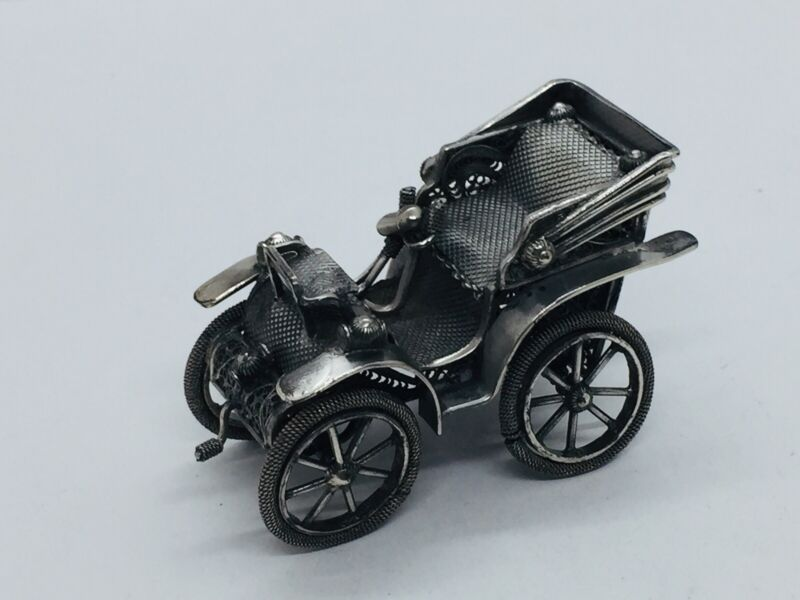 Antique Italian 800 Silver Filigree Classic Car Miniature