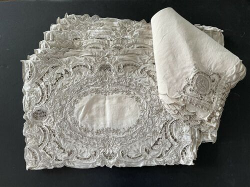 Set Of 8 (16 Pcs) Intricately Detailed Madeira Lace Placemats & Napkins Ivory