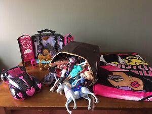 Monster High Accessories and bucket of dolls