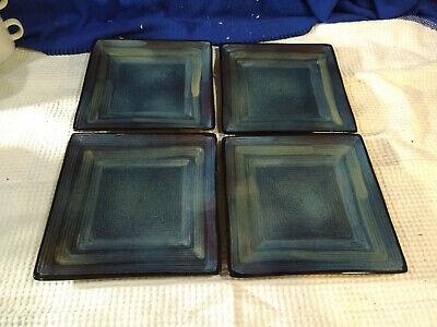 ONEIDA~Adriatic~Blue~Square Salad Plates~Set of 4~NICE!