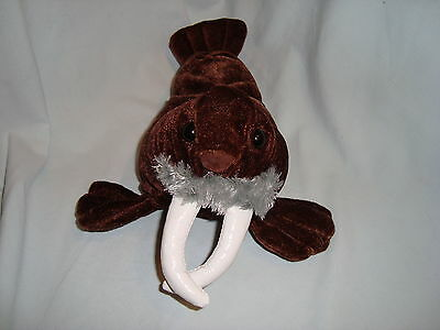 "Kellytoy Short Plush Brown WALRUS 10"" Stuffed Animal White Tusks Soft Toy"