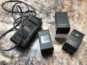 SONY CHARGER & 3 BATTERIES