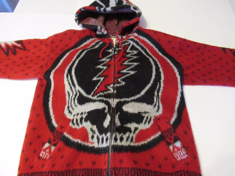 Grateful Dead Wool Steal Your Face Alpaca Style Hoodie Sz Small