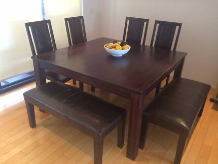Solid Timber Dining Table On Metal Legs Dining Tables