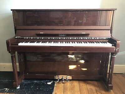 Moutrie 122 Upright Piano Chesnut Gloss and Matching Adjustable Piano Seat