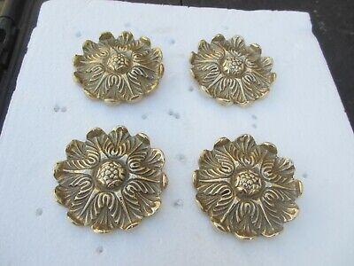 Brass Flower Ormolu Furniture Hardware Gold Mount Clover Flower Antique STYLE 4