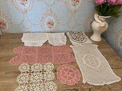 Selection Of Vintage Crochet Linen Place Mats, Tray Cloths, Doilies etc...