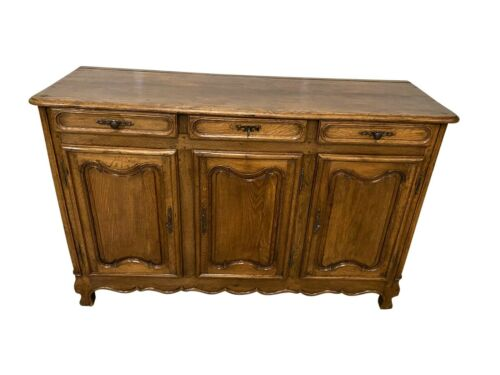 Primitive French Country Server, Buffet, Sideboard, Oak, 1920