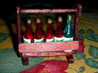 Weinflaschenträger mit 5 Flaschen/Kaufladen/Puppenstube/CATRICHEN 1:10/12